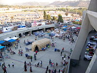 The stadium being used as an evacuation center during California wildfires of October 2007.