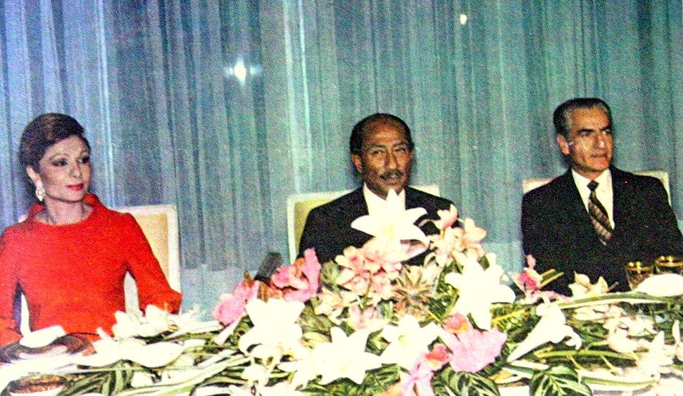 Queen Farah of Persia Egyption President Anwar Sadat Mohammad Reza Shah Pahlavi of Persia 1975
