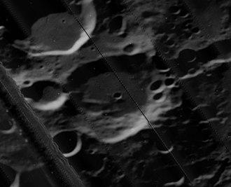Quetelet (crater) - Oblique Lunar Orbiter 5 image (band crossing image is artifact of original)