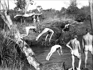 Darwin area, NT. 1943-05-10. Naked members of ...