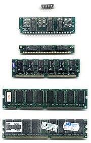 أنواع مختلفة من ذاكرة رام. من الأعلى إلى الأسفل: DIP و SIPP و SIMM 30 pin و SIMM 72 pin و DIMM و RIMM
