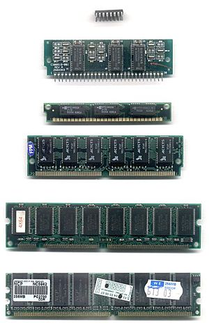 Dynamic random-access memory - Common DRAM packages. From top to bottom: DIP, SIPP, SIMM (30-pin), SIMM (72-pin), DIMM (168-pin), DDR DIMM (184-pin).