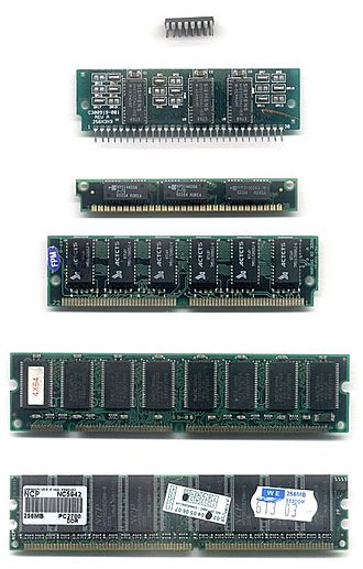 Memory module - Common DRAM packages. From top to bottom: DIP, SIPP, SIMM (30-pin), SIMM (72-pin), DIMM (168-pin), DDR DIMM (184-pin).