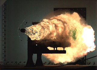 Railgun electrically powered electromagnetic projectile launcher