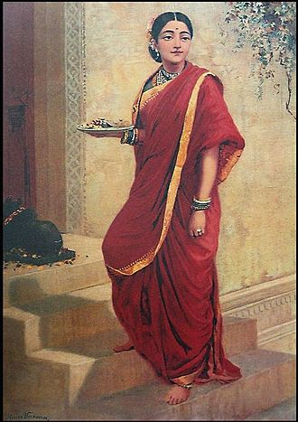 Clothing - Hindu Indian lady wearing sari, painting by Raja Ravi Varma. One of the most ancient and popular clothing in the Indian subcontinent.
