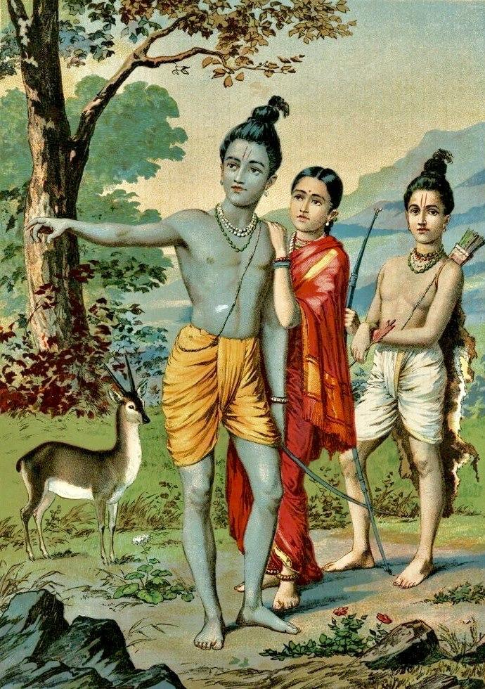 Painting of goddess Rama alongside Sita and Laxman