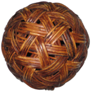 A sepak takraw ball made out of rattan.