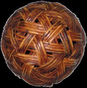 A rattan sepak takraw ball.
