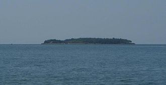 "Rattlesnake Island (Lake Erie) - Rattlesnake Island and its ""rattles"" viewed from South Bass Island."