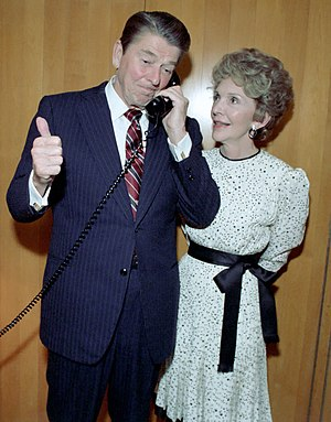 Concession (politics) - Ronald Reagan receiving a concession phone call from Walter Mondale after the 1984 United States presidential election