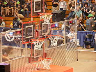 Rebound Rumble - Basketball hoops at one end of the field