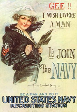 1917 recruiting poster for the United States Navy, featuring a woman wearing the most widely recognized uniform, the enlisted dress blues.