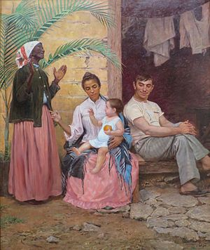 Race and ethnicity in Brazil - A Redenção de Cam (Redemption of Ham), Modesto Brocos, 1895, Museu Nacional de Belas Artes. The painting depicts a black grandmother, mulatta mother, white father and their quadroon child, hence three generations of hypergamy though racial whitening.