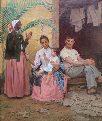 One-drop rule - A Redenção de Cam (Redemption of Ham), Modesto Brocos, 1895, Museu Nacional de Belas Artes. The painting depicts a black grandmother, mulatta mother, white father and their quadroon child, hence three generations of hypergamy through racial whitening.