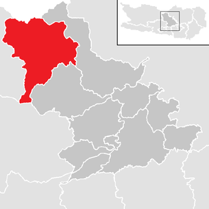 Location of the municipality of Reichenau (Carinthia) in the Feldkirchen district (clickable map)