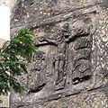 Reliéf ukřižovaného na jednom z pilířů kostela sv. Jindřicha a Kunhuty, Praha.JPG