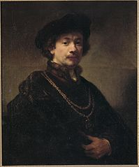Self-portrait with beret, gold chain, and medal