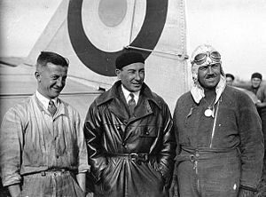 Joseph Le Brix - Left to right: René Mesmin (1897-1931), Joseph Le Brix (1899-1931), and Marcel Doret (1896-1955) standing in front of the Dewoitine D.33 Trait d'Union II in 1931.