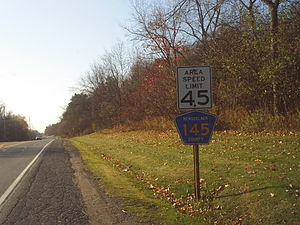 New York State Route 40 - Signage along NY 40 through Brunswick denoting CR 145