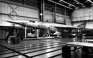 Republic XF-103 - A mock-up of the F-103 was built at the Republic factory. In this image, the pilot's capsule is shown in its lowered position.