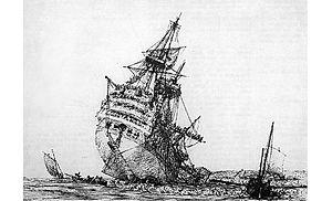 Croisière du Grand Hiver - Républicain ran aground on Mingant rock.