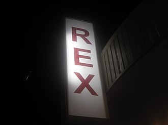 Dorcheat Historical Association Museum - Sign of the defunct Rex Theater in Minden. The theater was razed in the early 1970s to accommodate a parking lot for Minden Medical Center.