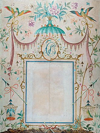 Chinoiserie - Wallpaper in the chinoiserie style, with a picture frame as its central motif, Rex Whistler