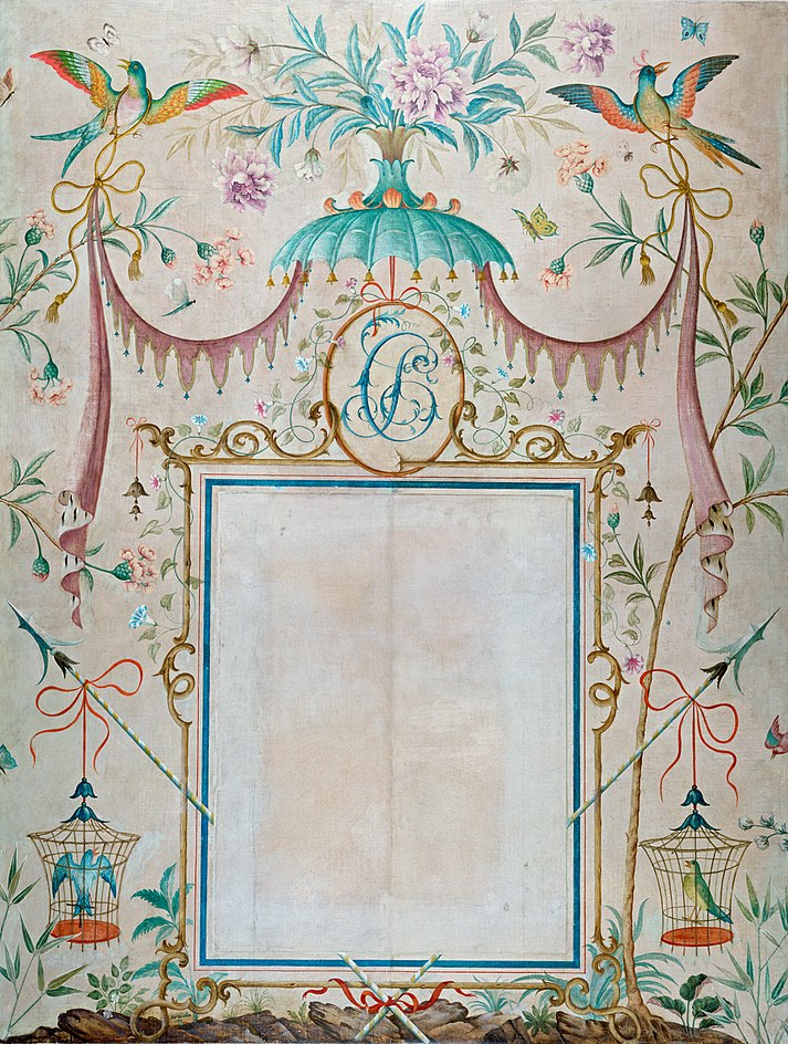Rex Whistler - Wallpaper in the Chinoiserie Style, with a Picture Frame as its Central Motif 1932