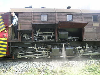 Meyer locomotive - The twin Meyer bogies with the (operating) drive of the rotary snow plough above
