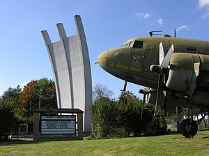 Rhein-Main Air Base - Memorial with a Douglas C-47 Skytrain (USAF) nearby.