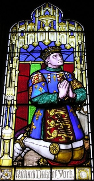 Battle of Ludford Bridge - Richard, Duke of York, portrayed in a stained glass window at St Laurence's Church, Ludlow. The town still bears the House of York's roses in its crest.