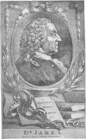 Robert James (physician) - Portrait of Robert James with the three volumes of his Medicinal Dictionary
