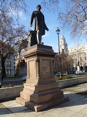 Hipperholme Grammar School - Statue to Sir Robert Peel in London, in February 2012