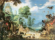 Painting of a forest filled with birds, including a Dodo