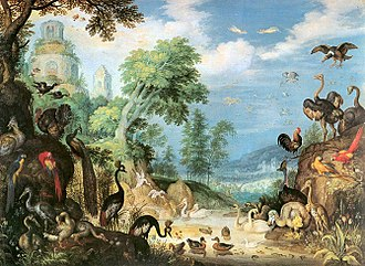 Roelant Savery - Landscape with Birds showing a dodo in the lower right, by Roelant Savery, 1628