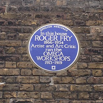 Roger Fry - English Heritage blue plaque for Fry and his Omega Studios at 33 Fitzroy Square, Fitzrovia, London Borough of Camden
