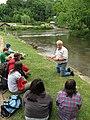 Roger Clapp on the bank of Scotts Creek (5754761884).jpg