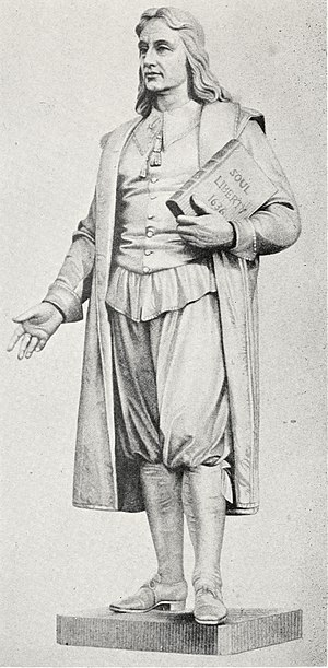 History of the Puritans in North America - Engraving of a statue of Roger Williams (1603-1683), Puritan minister who was expelled from the Massachusetts Bay Colony in 1636 for his views and who advocated religious liberty. Williams founded the city of Providence, Rhode Island.