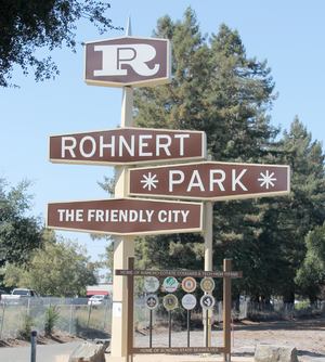 Rohnert Park, California - Rohnert Park sign between Commerce Boulevard and U.S. 101