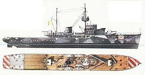 NMS Amiral Murgescu - Diagram of Amiral Murgescu (note the gun shields which were removed after her first weeks of service)