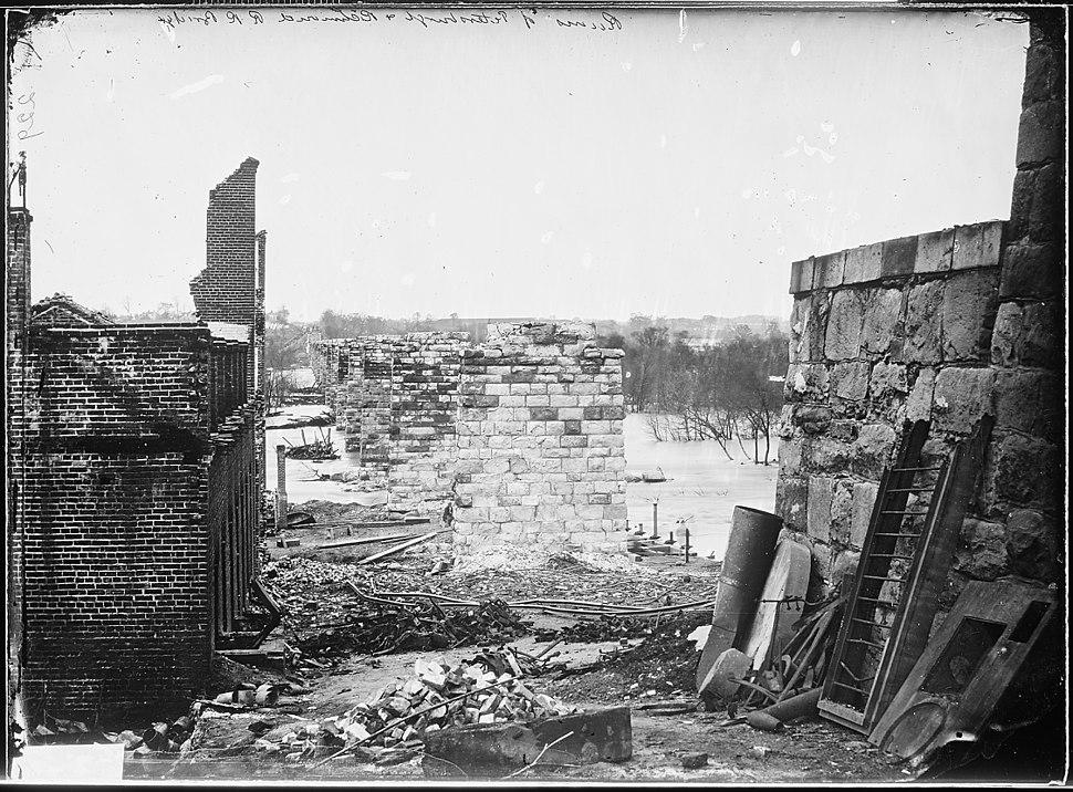 Ruins of Petersburg, R.R. Bridge, Richmond, Va. April, 1865 - NARA - 528974