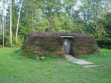 A dwelling typical to some deportees into Siberia in a museum in Rumsiskes, Lithuania Rumsiskes jurta.jpg