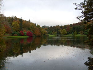 Stourhead - View taken from the Grotto, of the lake in autumn colours