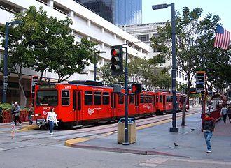 Orange Line (San Diego Trolley) - Orange Line train at Downtown San Diego 5th Avenue Station (March 2008).