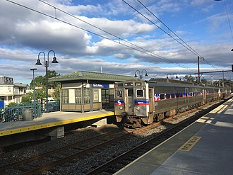 North Wales, Pennsylvania - A SEPTA Regional Rail train on the Lansdale/Doylestown Line stops at the North Wales station