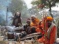 Sadhu Babas at Holy temple Pashupati, before great Shiva Ratri festival.JPG