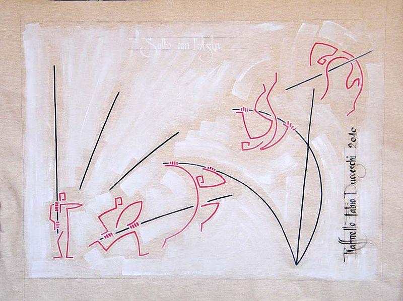 File:Salto con l Asta.jpg Description  English: pole vault - track and field, painting of Raffaello Fabio Ducceschi; acrylic on canvas - 67 cm x 91 cm Italiano: salto con l'asta - atletica leggera, quadro di Raffaello Fabio Ducceschi, acrilico su tela - 67 cm x 91 cm Español: salto con pertiga - atletismo, cuadro de Raffaello Fabio Ducceschi, acrílico sobre tela - 67 cm x 91 cm Català: salt amb perxa - atletisme, quadre de Raffaello Fabio Ducceschi, acrílico sobre tela - 67 cm x 91 cm Date 26 July 2010 Source Own work Author Raffaello.fabio.ducceschi