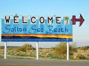 "Salton Sea Beach, California - The newly restored ""Welcome to Salton Sea Beach"" sign"