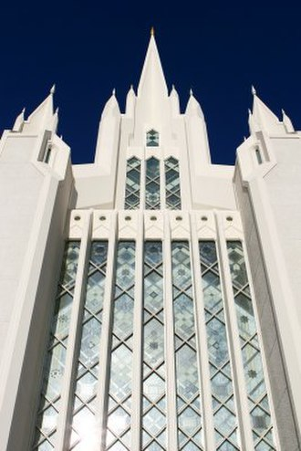 San Diego California Temple - The stained glass wall of the West spire