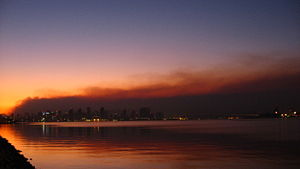 October 2007 California wildfires - San Diego skyline against the smoke at sunrise, on October 23, 2007.